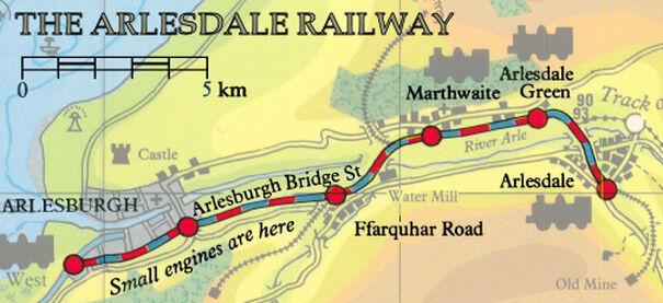 アールズデール鉄道の線路図