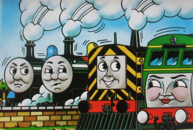 マガジンストーリーでジェームスとメイビスとデイジーと共に居るトーマス