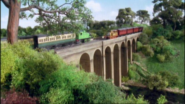 第6シーズン『やくにたつきかんしゃエドワード』の未公開シーンでステップニーと出会う緑の急行客車を牽引しているオリバー