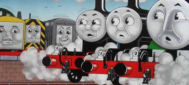 マガジンストーリーでディーゼル261とヘンリーとジェームスとディーゼルとメイビスと共に居るトーマス