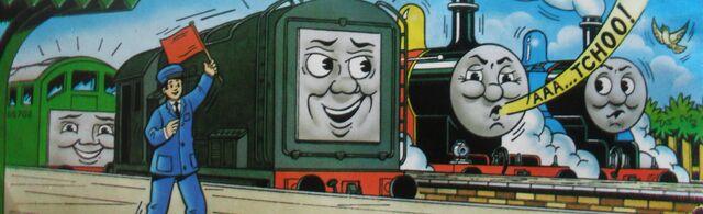 マガジンストーリーでジェームスとディーゼルとボコと共に居るトーマス