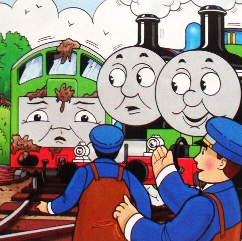 マガジンストーリーでトーマスとパーシーと共に居るチョコレート塗れのボコ