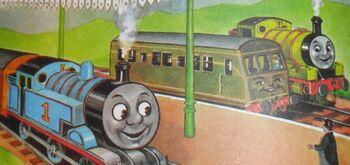 年鑑シリーズでトーマスとパーシーと共に居るデイジー(すっぴんノーメイク)