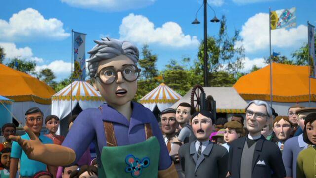 TV版第24シーズンでドクター・ヘッティーの発明品を観覧しているマドレーヌの父親