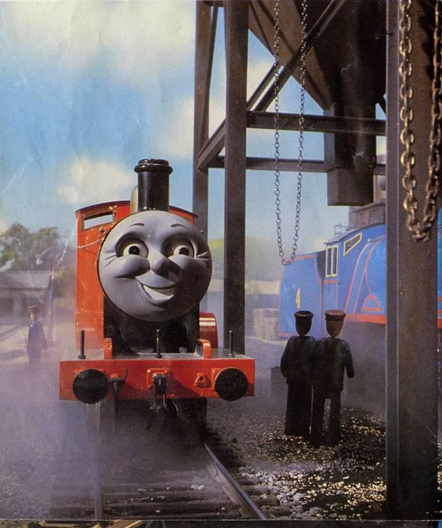 ティッドマス操車場でゴードンを咎めているジェームスが笑みを浮かべているシーン
