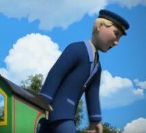 TV版第20シーズンでレックスの運転席から飛び降りるレックスの機関士