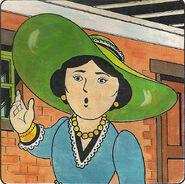 マガジンストーリーの緑の帽子を被った女性