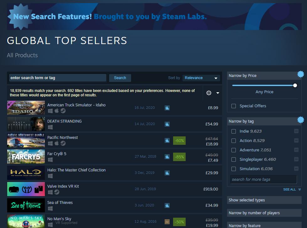 Global Top Sellers on Steam