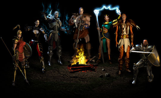 Player Character一覧。左から順にAmazon, Assassin, Necromancer, Barbarian, Sorceress, Druid, Paladin