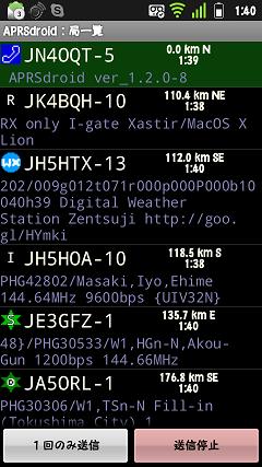 APRSdroid Station-List