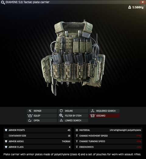 5 11 Tactec plate carrier - Escape from Tarkov Wiki*