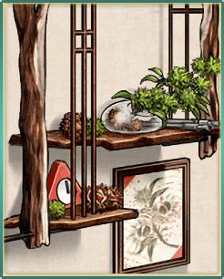栗の水墨画と秋飾り棚.png