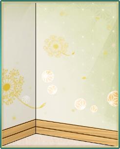 綿毛模様の緑の壁板.png