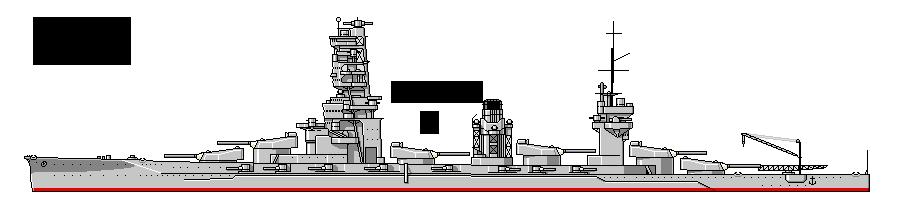 山城……艦橋の真後ろに三番砲塔。三番砲塔と四番砲塔が煙突を挟みこむ。三番砲塔を後ろ向きに取り付けたので、艦橋はえぐれていない。