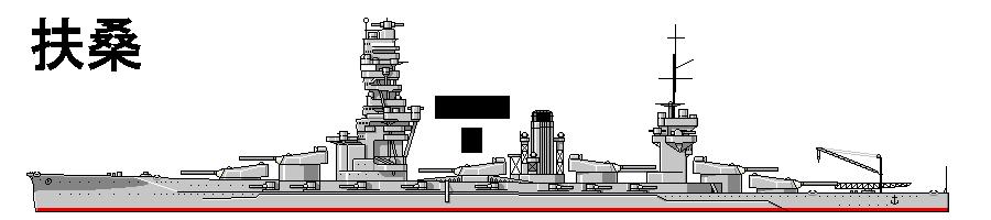 扶桑……艦橋の真後ろに三番砲塔。三番砲塔と四番砲塔が煙突を挟みこむ。三番砲塔を前向に取り付けたため艦橋下部がえぐり取られ、今にも倒壊しそうな状態。