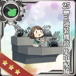 131:25mm三連装機銃 集中配備