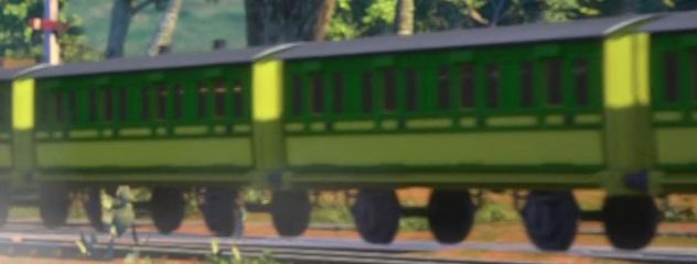 TV版第22シーズンのインドの支線客車(黄色)