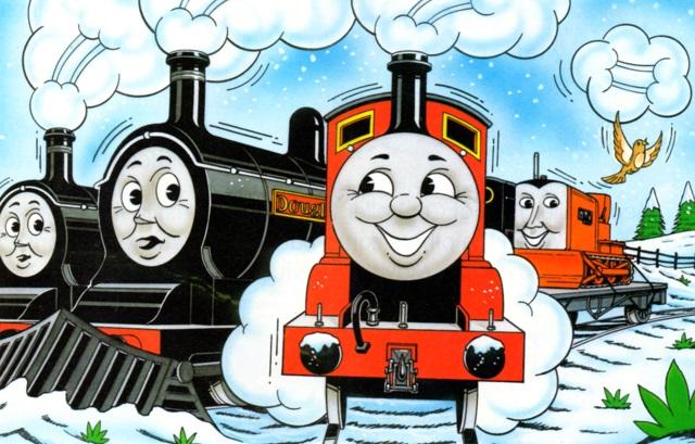 マガジンストーリーでテレンスを載せた平台貨車を牽引しているジェームスとドナルドと共に居るダグラス