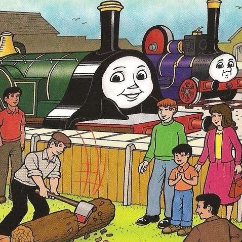 マガジンストーリーでエミリーと丸太を削る作業の様子を見学しているファーガス