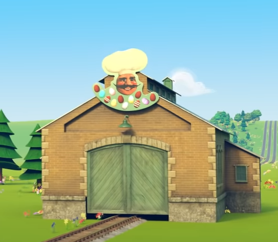 YouTube動画『The Sodor Springtime Parade』のミスター・ジョリーのチョコレート工場