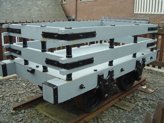 木材を積んだスレート貨車のモデル車