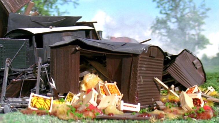 TV版第7シーズンの木っ端微塵になった果物を積んだ有蓋貨車