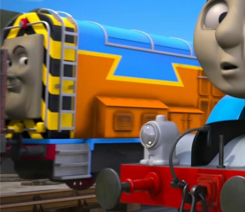 TV版長編第14作の水色とオレンジのディーゼル機関車