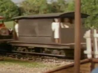 第4シーズンでクリケット選手が乗った灰色のイギリス国鉄の20トンブレーキ車3