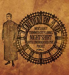 London Blade社製、男性用刺繍仕上げの収納付きナイトシャツ
